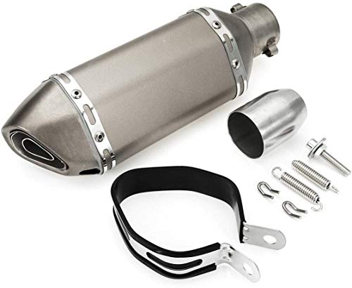 Annpee Exhaust Muffler 1.5-2'Inlet Exhaust Muffler with Removable DB Killer for Street/Sport Motorcycles and Scooters with 38-51mm diameter exhaust pipes (Silver)