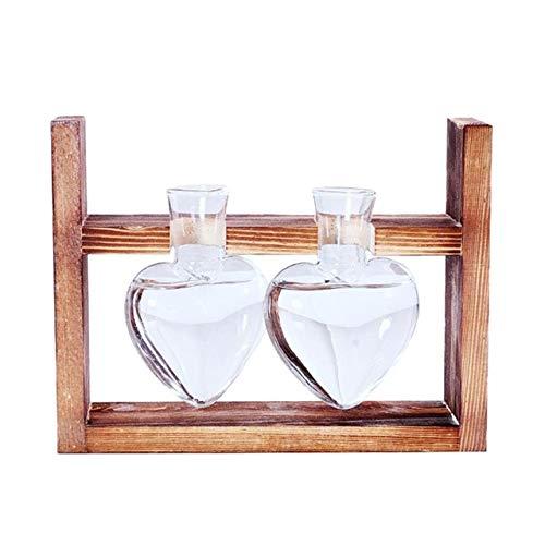 Nieuw-Vintage Style Liefde Heart Shape Clear glazen blad Plant Bonsai bloemenvazen Wedding Party decoratieve Terrarium Met Houten: 2 Vaas