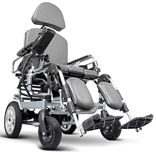 Elektrischer Rollstuhl Mit Hoher Rückenlehne Kopfstütze,elektrorollstuhl,faltbar Tragbare,toilettenstuhl Fahrbar Auf Rollen,sitzbreite 45cm,rückenlehne Und Pedalwinkel Können Eingestellt Werden a
