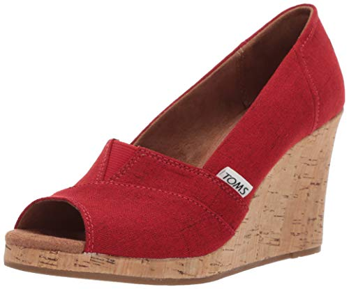 TOMS Women's Classic Espadrille Wedge Sandal, red Crosshatch Jacquard, 7 B Medium US