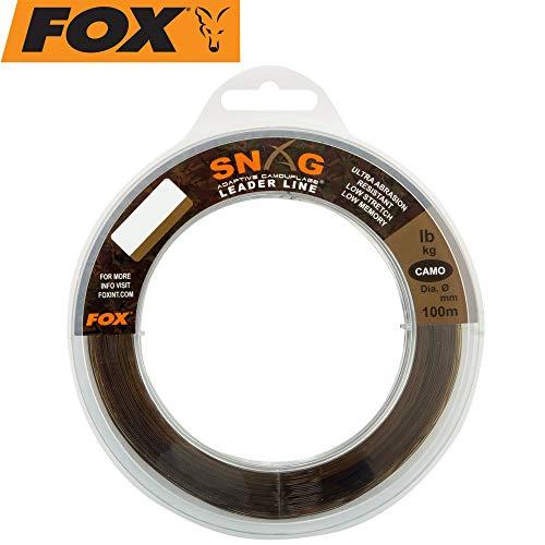 FOX Snag Leader Camo 100m - Schlagschnur zum Karpfenangeln, Karpfenschnur, Vorfachmaterial zum Angeln auf Karpfen, Vorfachschnur, Durchmesser/Tragkraft:0.47mm / 30lbs / 13.6kg Tragkraft