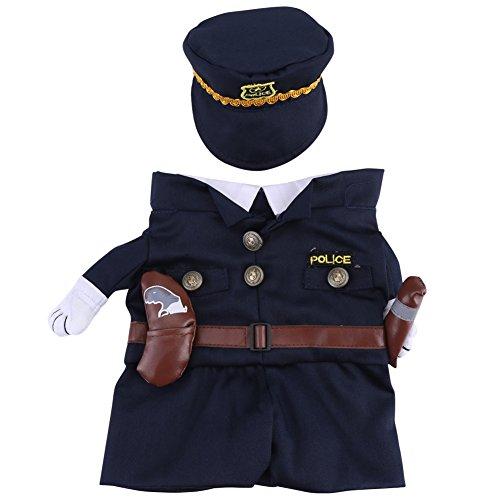 Costume da Poliziotto Abiti con Cappello Cane da Compagnia Gatto Costumi di Halloween La Polizia per la Festa di Natale Eventi Speciali Costume Uniforme con Cappello Funny Pet(3)