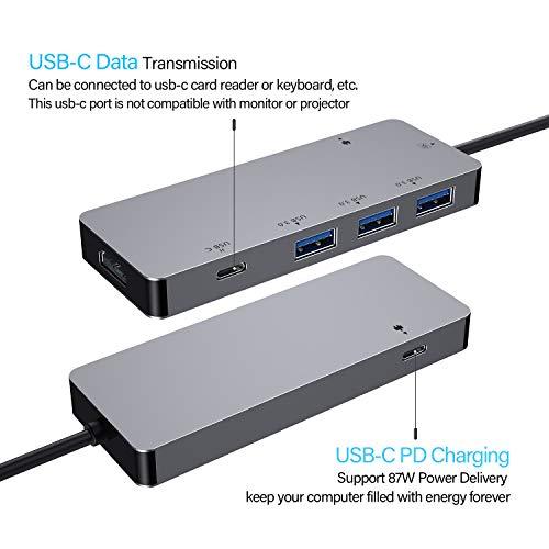 zedela USB C HUB Adapter mit 4K HDMI-Anschlüssen,3 USB 3.0 Ports,2 USB C Anschluss (Pass-Through Aufladen/Datenü bertragung),für MacBook Air,MacBook Pro 2018,Samsung S8/S9,Huawei Mate 20,P20,usw