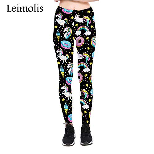 LEIMOLIS Yoga Hosen Leggings Printed 3D Fitness Push Up Workout Leggings Frauen Gothic Regenbogen Donut Plus Größe Hohe Taille Punk Rock...
