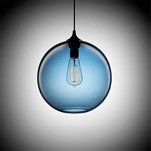 YUNLONG Globo Bicchiere Luce Pendente Bar Moderno Il Giro Camera da Letto Lampada A Sospensione Sala Elegante Art Decor per La Cucina Luce Pendente Elegante Luminoso Lampada,Blu