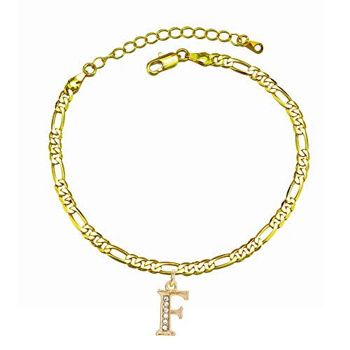kelistom 14k Gold Plated Initial Ankle Bracelet for Women Teen Girls, Fashion 4mm Figaro Chain Ankle Bracelet with Rhinestone Filled Letter Alphabet Foot Jewelry with Extension