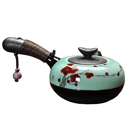 Lounayy Porzellan Teekanne Im Japanischen Stil Handgefertigt Teekanne Aus Geeignet Style Keramik Kung Fu Teekanne Kyusu Teekanne Rote Pflaume (Color : Colour, Einheitsgröße : Einheitsgröße)