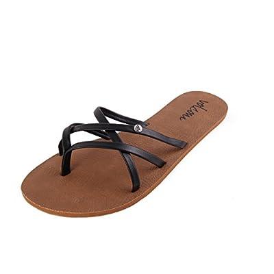 Volcom New School Womens Dress Sandal,Black,8 US