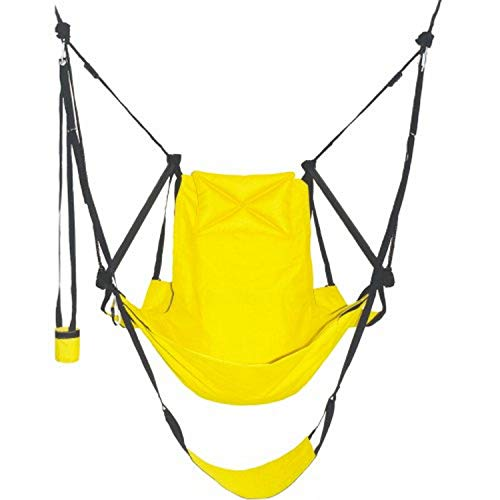 Green Eggs and Hammocks Con2our Dual-Point Hammock Chair with Adjustable Footrest, Armrests, Pillow, and Drink Holder, Canary Yellow