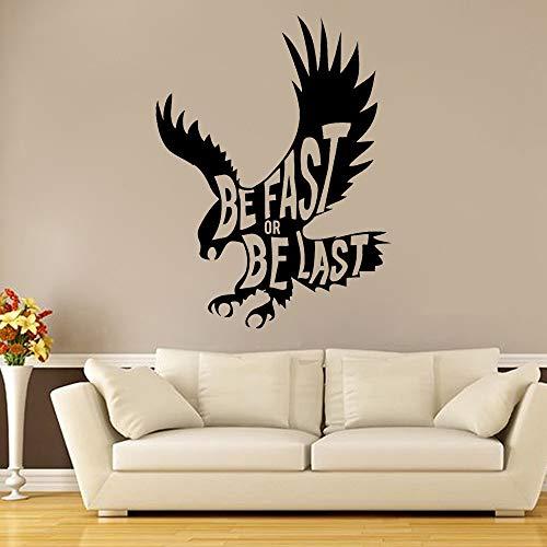 JXMK dieradelaar vinyl sticker citaat motivatie inspiratie adelaar vogel muursticker familie woonkamer decoratie behang muursticker 76x57cm
