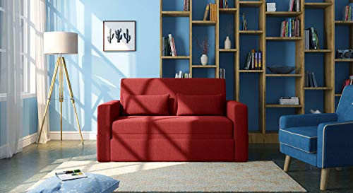 Urban Ladder Camden Compact Sofa Cum Bed (Colour : Salsa Red)