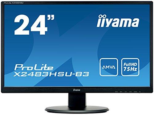 Ecran iiyama 24' ProLite X2483HSU-B3, 1920x1080, dalle AMVA, 250cd/m², ACR, 4ms, VGA/HDMI/DP/USB-HUB, TCO, Flicker free blue light, speakers