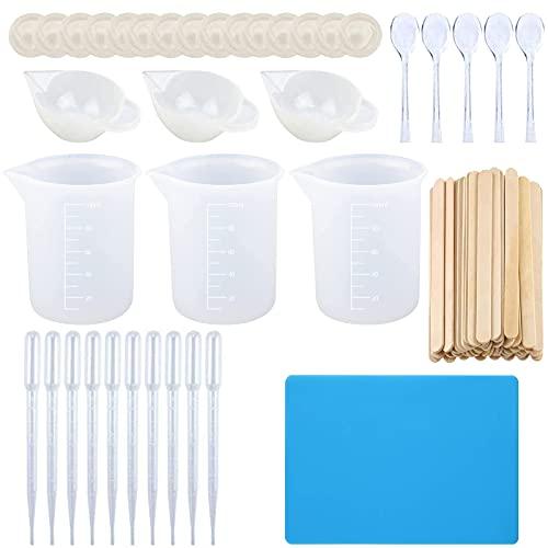 silicona tazas de medir para 100 ml de resina de mezcla de depósito de colada de resina tazas con la mezcla de palos, dejando caer la pipeta, dediles, cuchara de plástico, estera de silicona