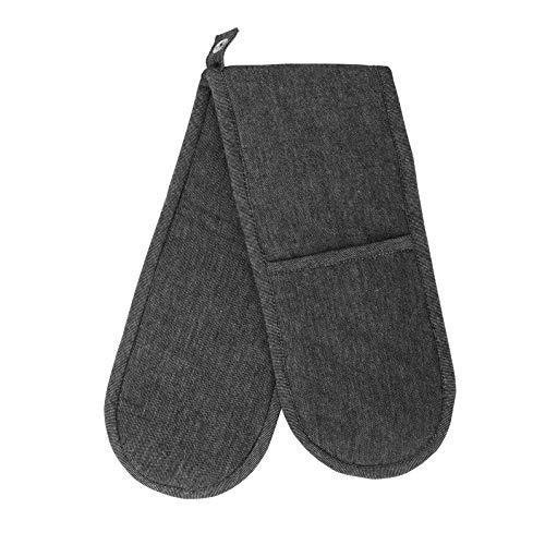 Penguin Home® Guantes Dobles de Mezclilla Negra 100% algodón Manoplas Dobles para Horno Manoplas Dobles Resistentes al Calor - Mezclilla Lavada a la Piedra Tamaño: 18 x 90 cm 