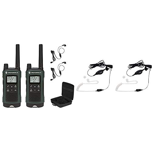 Motorola Talkabout T465 Rechargeable Two-Way Radio Bundle (Green) Bundle with Motorola 1518 Surveillance Headset with PTT Mic, Black, White