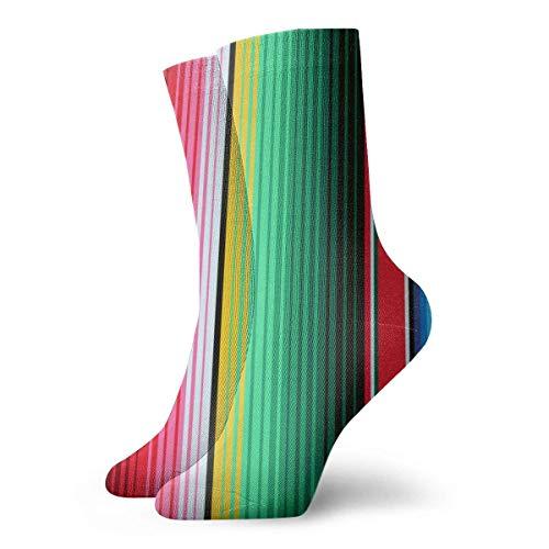 Manta mexicana a rayas patrón sin costuras, novedad divertida Crazy Crew Sock Cool Unisex Sport Athletic Calcetines 30 cm de largo personalizado regalo calcetines