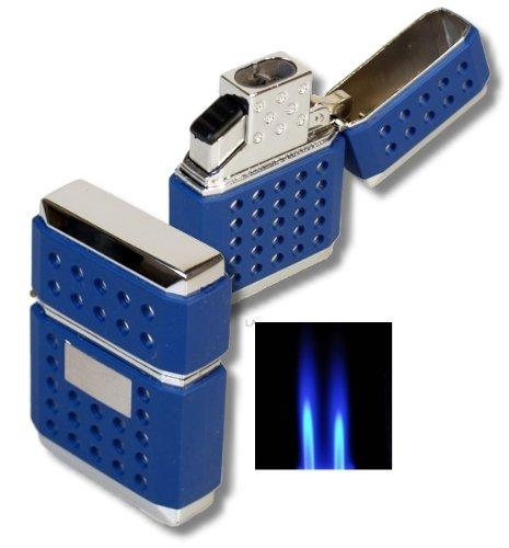 Tycoon Doppel Jet Feuerzeug Dots blau Rubber