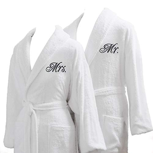 Luxor Linens Couple's Terry Cloth Bathrobe Set- Unisex/One Size Fits Most - Luxurious, Soft, Plush, Elegant Script Embroidery San Marco - Mr. & Mrs. with...