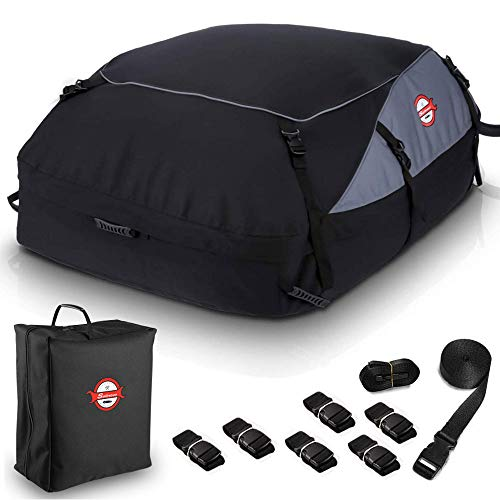 Car Roof Bag Cargo Carrier, 20 Cubic Feet Waterproof Topper Luggage Bag Vehicle Soft-Shell Rooftop Cargo Carriers with Storage Carrying Bag and 8 Reinforced Straps for All Cars with/Without Rack
