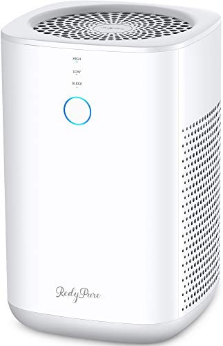 RedyPure H13 HEPA Filter Air Purifier for Home, Desktop Small Room Air Purifier Cleaner Ultra Quiet for Office Bedroom, Removes Allergies, Pollen, Dust, Odor, Pet Hair Dander, Smoke (JR6, White)