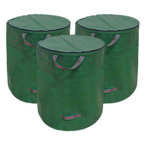 Directtyteam sacchi per rifiuti da giardino con coperchio, 272l sacchetti di rifiuti da giardino con manici extra Strong Garden sacchi per la spazzatura sacchi Heavy Duty grande