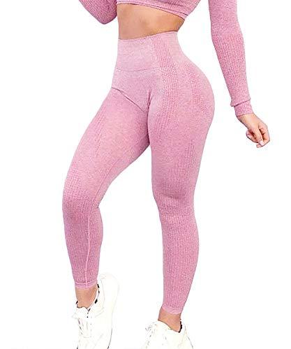Yaavii Damen Sport Leggings Lange Blickdicht Yoga Leggings Figurformende Sporthose Yogahose Fitnesshose mit Hohe Taille Bauchkontrolle Rosa2 M