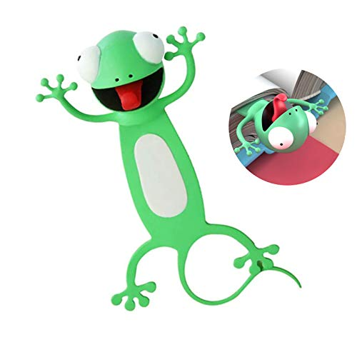 3D Wacky Animal Bookmarks for Kids Novelty Funny Cartoon Bookmarks Student Stationery Supplies Birthday Party Favors Bookmarks for Boys and Girls Help with Reading (Gecko)