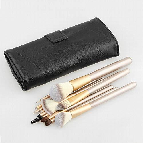 Set de pinceaux de maquillage, 12 pinceaux de maquillage sac noir champagne 18 maquillage de riz noir doré blanc 24 pinceaux de maquillage, 12