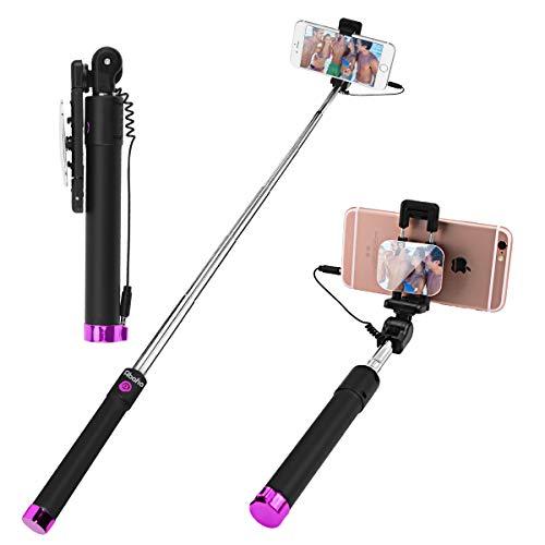 Hirkase Selfie Stick - Ohne Akku mit AUX Kabel Auslöser, Selfiestick kompatibel mit iPhone X 8 7 Plus 6s 6 SE Samsung Galaxy S10 S9 S8 S7 Edge S6 Note Smartphone (Fuchsia)