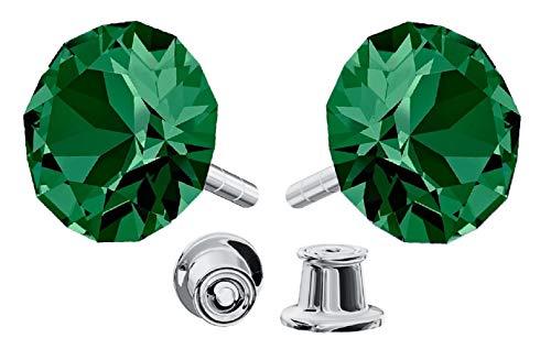 *Beforya Paris* *Xirius* 925 Sterlingsilber Ohrstecker *Viele Farben* - Ohrringe mit Kristallen von Swarovski® - Schön Ohrringe Damen - Wunderbare Ohrringe mit Schmuckbox - PIN/75 (Emerald)