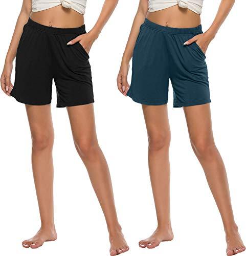 AjezMax Pack de 2 pantalones cortos de pijama para mujer, de modal suave, con bolsillos Negro y azul. XXL