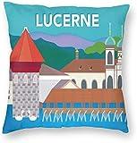 BONRI Stad Gebouw Poster Luzern Zwitserland Reizen