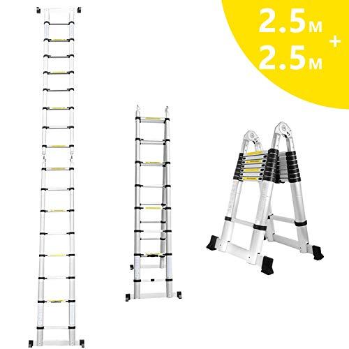 Hengda 5(2.5+2.5) M Teleskopleiter Klappleiter Ausziehbare Leiter Teleskop-Design 150 kg Belastbarkeit Rutschfester Klappleiter 6+6 Stufen für Büronutzung Baujob Ausziehbar