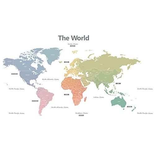 DECOWALL DLT-1809 Mappa del Mondo Moderno Toni Pastello Adesivi da Parete Decorazioni Parete Stickers Murali Soggiorno Asilo Nido Camera da Letto per Bambini (Extra Grande) (Ver. Inglese)