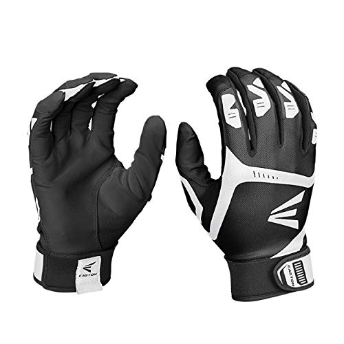 EASTON VRS POWER BOOST Batting Glove | Pair | Baseball Softball | Adult | X Large | Black / Grey | 2020 | VRS Pad Reduces Vibration & Blisters | Tacky Palm | Flexible Lycra | Comfort Neoprene Strap
