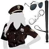 com-four® disfraz de policía con blusa y sombrero para Mardi Gras, Carnaval, Halloween, fiestas temáticas, despedidas de soltero, eventos de disfraces (Disfraz de mujer policía Gr. Accesorios M/L +)