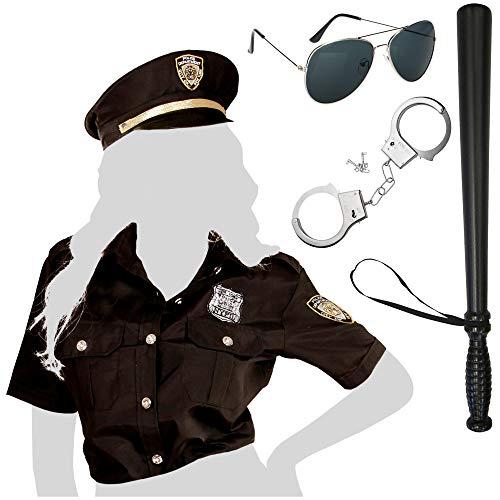 com-four® 5-teiliges Polizei Kostüm Set, Polizistinkostüm für Fasching, Karneval, Halloween, Motto-Partys, Junggesellenabschied, Kostümveranstaltungen (Polizistin Kostüm Gr. M/L + Zubehör)