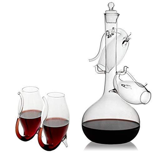Porto Decanter Set Port Sippers - The Wine Savant Port and Wine Sippers Wine Glasses Set, With a Port Decanter
