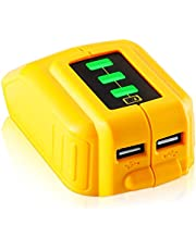 【2 USB Ports & Power Display】 TenHutt 12V/20V Max USB Power Source Replacement for Dewalt DCB090 Converters for Lithium Battery