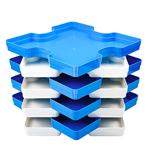8 Puzzle Sorting Trays Fit Up to 2000 Pieces Puzzles Durable Jigsaw Puzzle Trays Puzzle Stacking Trays Gift for Puzzlers Blue and White
