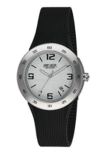 Orologio HIP HOP uomo METAL quadrante bianco e cinturino in silicone, metallo nero, movimento SOLO TEMPO - 3H QUARZO