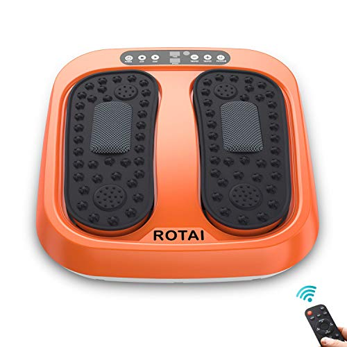 ROTAI Vibration Foot Massager Multi Relaxations and Pain Relief Rotating Acupressure Electric Foot Circulation Device with Remote Control Orange