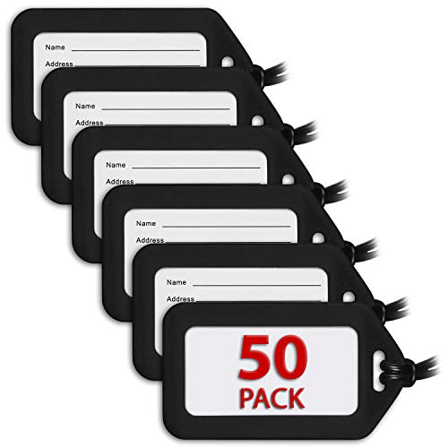 MIFFLIN Luggage Tags (Black, 50 PK), Bag Tag for Baggage, Suitcase Tags Bulk