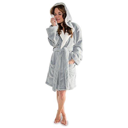 CelinaTex Miami Damen Bademantel mit Kapuze S grau creme weiß Coral Fleece Morgenmantel Mikrofaser Saunamantel