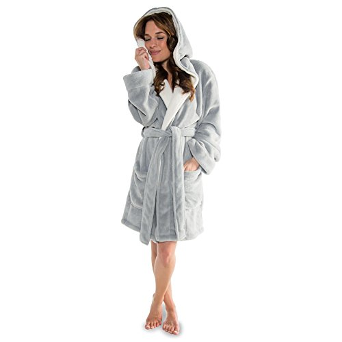 CelinaTex Miami Damen Bademantel mit Kapuze XS grau Creme weiß Coral Fleece Morgenmantel Mikrofaser Saunamantel