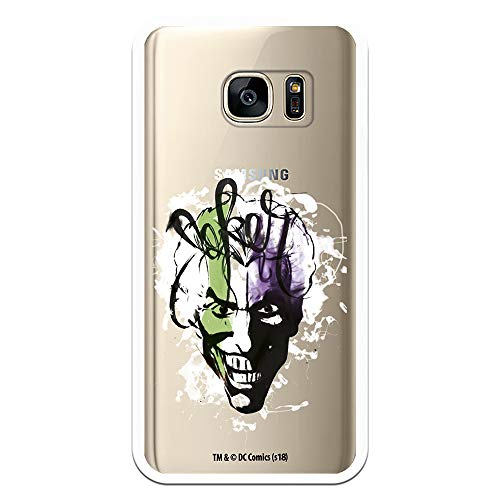 Funda para Samsung Galaxy S7 Oficial de DC Comics Joker Transparente, una Carcasa para Samsung de Silicona Flexible para Proteger tu Móvil con el Joker