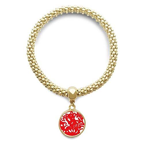 DIYthinker Damen Papier-Cut Ratte Tier China Tierkreis-goldene Armband Laufende Anhänger Schmuck-Kette