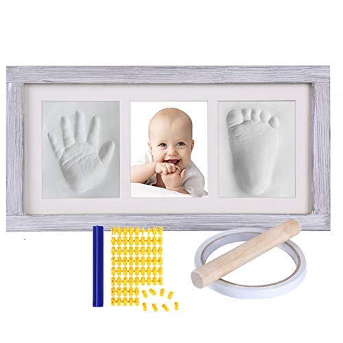 Baby Hand & Footprint Kit, Newborn Keepsake Box in Rustic Farmhouse Frame, Clay Baby Casting Kit for Baby Shower Gifts, Boys & Girls - Baby Nursery Decor - Bonus Stencil Included (Grey)