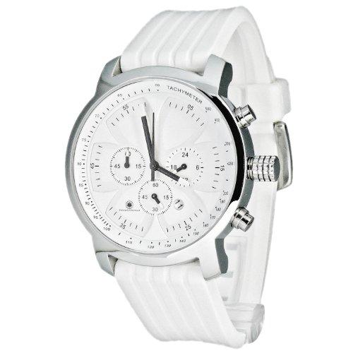 Constantin Durmont Grand Prix - Reloj cronógrafo de caballero de cuarzo con correa de goma blanca (cronómetro) - sumergible a 50 metros