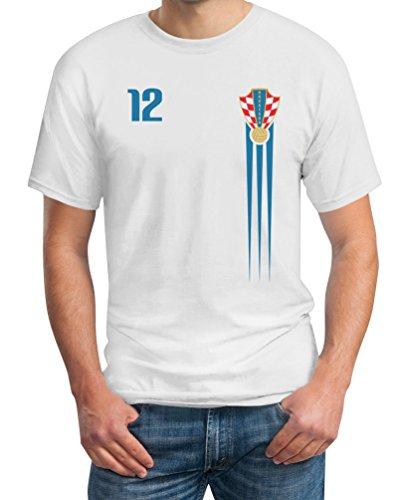 Kroatien Fußball Europameisterschaft Fanshirt Croatia Fantrikot EM 2021 T-Shirt X-Large Weiß